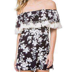 Michael Kors Floral Vine Off The Shoulder Dress